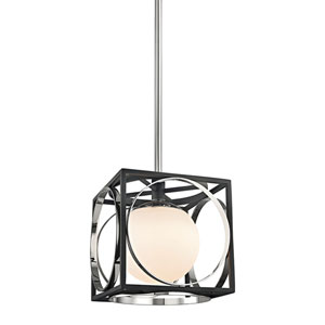 Wadsworth Polished Nickel and Black 10-Inch One-Light Pendant