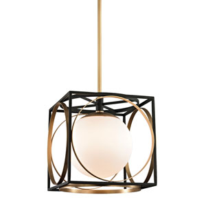 Wadsworth Aged Brass and Black 13.5-Inch One-Light Pendant