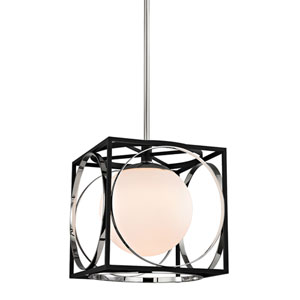 Wadsworth Polished Nickel and Black 13.5-Inch One-Light Pendant