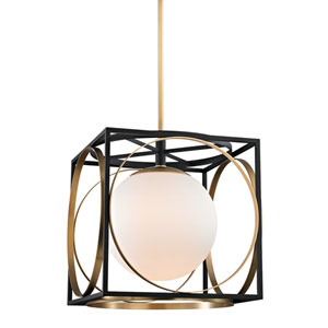 Wadsworth Aged Brass and Black 18-Inch One-Light Pendant