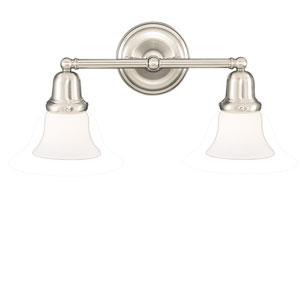 Edison Old Bronze Two-Light Bath Bracket with Small Bell Opal Matte Glass