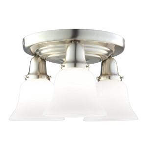 Edison Satin Nickel Three-Light Semi Flush with Flared White Glass