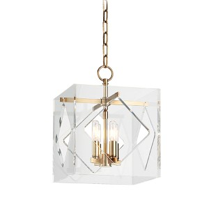 Travis Aged Brass Four-Light Pendant with Clear Acrylic Shade