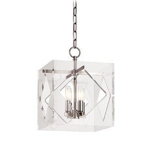 Travis Polished Nickel Four-Light Pendant with Clear Acrylic Shade