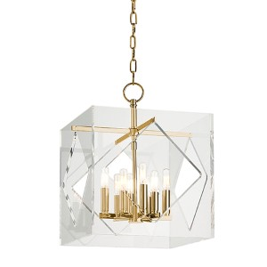 Travis Aged Brass Eight-Light 16-Inch Wide Pendant with Clear Acrylic Shade
