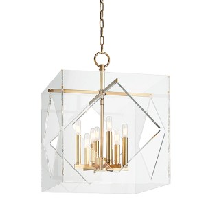 Travis Aged Brass Eight-Light 20-Inch Wide Pendant with Clear Acrylic Shade