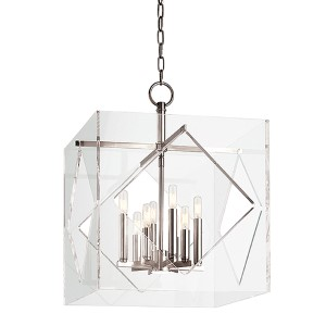 Travis Polished Nickel Eight-Light 20-Inch Wide Pendant with Clear Acrylic Shade