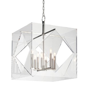 Travis Polished Nickel Eight-Light 24-Inch Wide Pendant with Clear Acrylic Shade