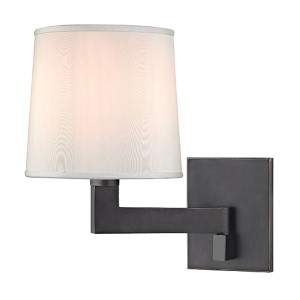 Fairport Old Bronze One-Light 7.5-Inch Wide Wall Sconce with White Shade