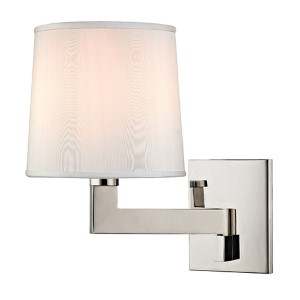 Fairport Polished Nickel One-Light 7.5-Inch Wide Wall Sconce with White Shade