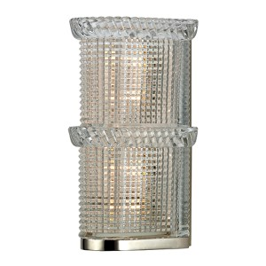 Blyhte Polished Nickel Two-Light Bath Light Fixture with Pressed Crystal Inside Etched Glass