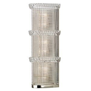 Blyhte Polished Nickel Three-Light Bath Light Fixture with Pressed Crystal Inside Etched Glass