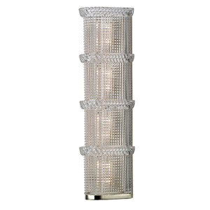 Blyhte Polished Nickel Four-Light Bath Light Fixture with Pressed Crystal Inside Etched Glass
