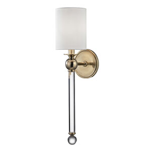 Gordon Aged Brass One-Light Wall sconce with White Silk Shade