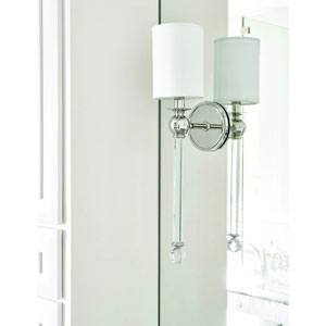 Gordon Polished Nickel One-Light Wall Sconce with White Silk Shade