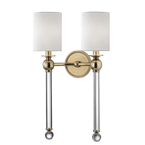 Gordon Aged Brass Two-Light Wall sconce with White Silk Shade