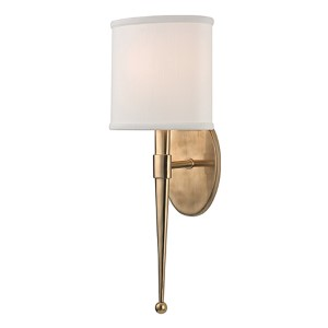 Madison Aged Brass One-Light Wall Sconce with White Shade