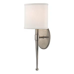 Madison Historic Nickel One-Light Wall Sconce with White Shade