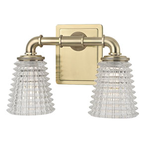 Westbrook Aged Brass Two-Light Vanity Fixture with Clear Glass