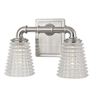 Westbrook Satin Nickel Two-Light Vanity Fixture With Clear Glass