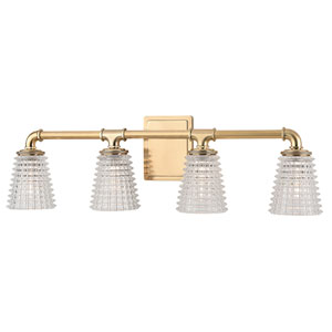Westbrook Aged Brass Four-Light Vanity Fixture with Clear Glass