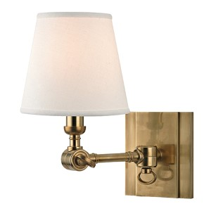 Hillsdale Aged Brass One-Light 6-Inch Wide Swivel Wall Sconce with White Shade
