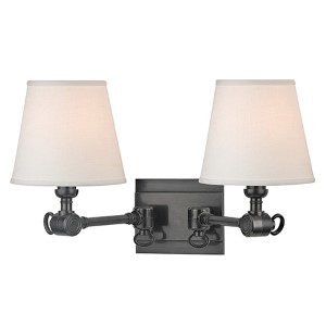 Hillsdale Old Bronze Two-Light Swivel Wall Sconce with White Shade