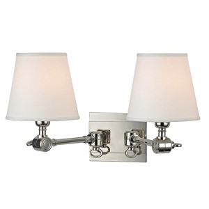 Hillsdale Polished Nickel Two-Light Swivel Wall Sconce with White Shade