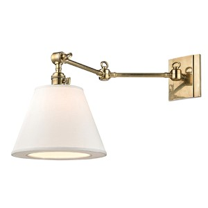 Hillsdale Aged Brass One-Light Swivel Wall Sconce with White Shade
