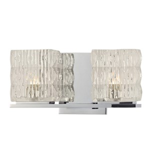 Torrington Polished Chrome Two-Light Bath Light Fixture with Clear Glass