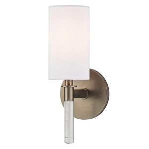Wylie Brushed Bronze One-Light Wall Sconce with White Shade