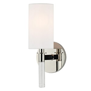 Wylie Polished Nickel One-Light Wall Sconce with White Shade