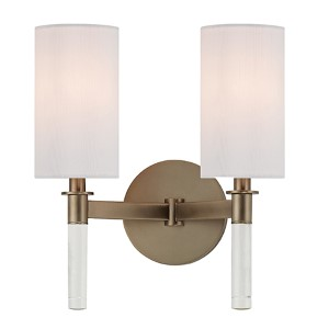 Wylie Brushed Bronze Two-Light Wall Sconce with White Shade