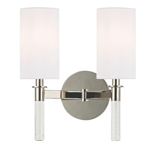 Wylie Polished Nickel Two-Light Wall Sconce with White Shade