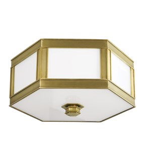 Nassau Aged Brass Two-Light Flush Mount