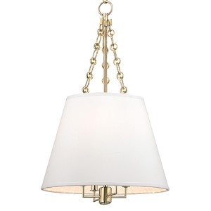 Burdett Aged Brass Four-Light Pendant with White Shade