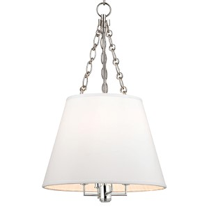 Burdett Polished Nickel Four-Light Pendant with White Shade