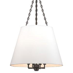 Burdett Old Bronze Eight-Light Pendant with White Shade