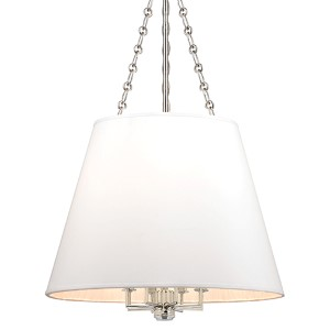 Burdett Polished Nickel Eight-Light Pendant with White Shade