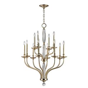 Lauderhill Aged Brass Twelve-Light Chandelier