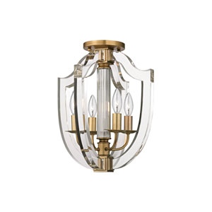 Arietta Aged Brass Four-Light Semi-Flush