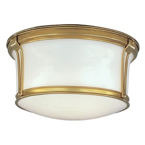 Newport Aged Brass 10-Inch Two-Light Flush Mount