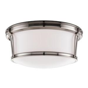 Newport Satin Nickel Large Flush Mount Ceiling Light