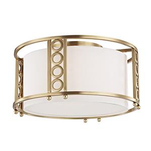 Infinity Aged Brass 3-Light 16-Inch Flush Mount