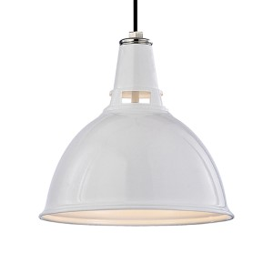 Lydney 12-Inch White Polished Nickel Pendant