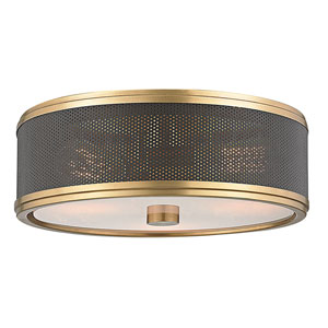 Fraser Aged Brass Three-Light Semi-Flush