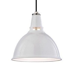 Lydney White Polished Nickel One-Light Pendant with Opal Glass