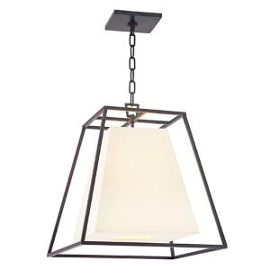 Kyle Old Bronze Four-Light Lantern Pendant with White Faux Silk Shade