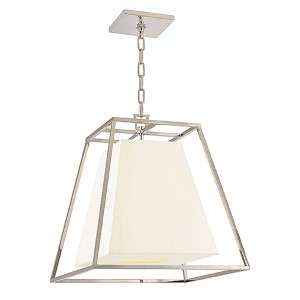 Kyle Polished Nickel Four-Light Lantern Pendant with White Faux Silk Shade