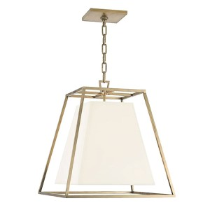 Kyle Aged Brass Four-Light Lantern Pendant with White Faux Silk Shade